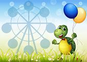 Illustration of a turtle with two balloons at the carnival