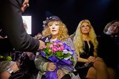 MOSCOW - APR 4: STV correspondent interviews Alla Pugacheva - Soviet and Russian musical performer