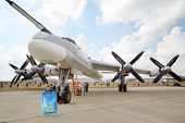 ZHUKOVSKY - AUGUST 12: Strategic bomber Tu-95MS on airshow devoted to 100 anniversary of Russian Air