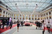 MOSCOW - APR 4: People and Volvo cars in Gostiny Dvor on day of opening of 27th season Volvo Fashion