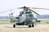 ZHUKOVSKY - AUGUST 12: Helicopter Mi-8 at airshow devoted to 100 anniversary of Russian Air Forces o