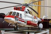 MOSCOW - AUGUST 2: Model of large cargo helicopter Mi-171A2 in museum of Helicopter Plant named Mil,