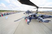 ZHUKOVSKY - AUGUST 12: Military helicopters and spectators on airshow devoted to 100 anniversary of