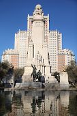 MADRID - MARCH 9: Monument to Don Quixote and Sancho Panza, on March 9 2012 in Madrid, Spain. Since
