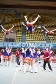 MOSCOW - MAR 24: Participants of cheerleaders team Leader perform during Championship and Contests o