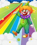 Illustration of a clown standing in the colorful road