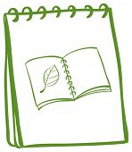 Illustration of a notebook with a drawing of a book at the cover page on a white background