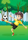 Illustration of a boy playing soccer at the forest