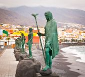 Guanches indians statues located at Plaza de la Patrona de Canarias at Candelaria, Tenerife, Canaria