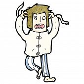 stock photo of straight jacket  - cartoon crazy man in straight jacket - JPG
