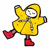 cartoon person in raincoat