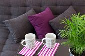 image of futon  - Sofa decorated with cushions two cups on a table and green plant - JPG