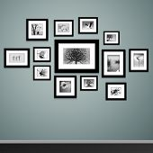 Photo frames on wall. Vector vintage picture frames