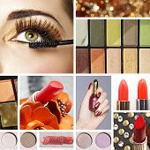 Makeup mood board collage with warm gold eyeshadow and orange red lipsticks including closeup of wom