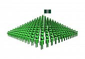 Pyramid of abstract people with Nigeria flag illustration