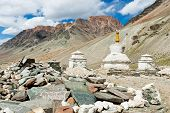 Tibetan stupas and mani stones. Zanskar valley, Ladakh, India.