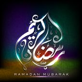 Arabic Islamic Calligraphy of shiny text Ramadan Mubarak or Ramazan Mubarak on colorful abstract background..
