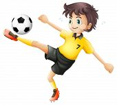Illustrtaion of a boy kicking the soccer ball on a white background