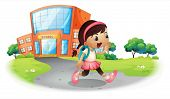 Illustration of a cute student going home from school on a white background