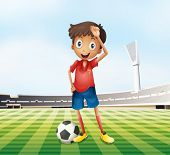 Illustration of a male soccer player at the field