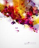 elementos de design abstrato com cara de mulheres