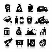 stock photo of recycling bins  - Garbage Icons - JPG