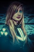 stock photo of armor suit  - Girl with blue eyes - JPG