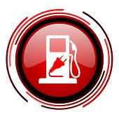 fuel red circle web glossy icon on white background