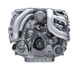 picture of lube  - modern car engine isolated on white background - JPG