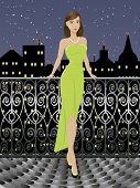 Young fashion girl in long dress over cityscape