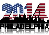 Philadelphia skyline with 2014 American flag text illustration