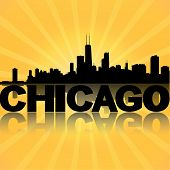 Skyline von Chicago mit Sunburst Illustration reflektiert