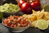 stock photo of condiment  - Homemade Pico De Gallo Salsa and Chips Ready to Eat - JPG