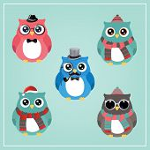 Cute Winter Christmas Hipster Owl Vector Illustration