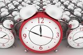 image of analog clock  - 3d big red alarm clock and alarm clocks on white - JPG