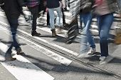 pic of zebra crossing  - Urban look of moving people on zebra crossing or crosswalk - JPG