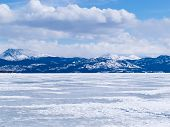 Frozen Lake Laberge Winter Landscape Yukon Canada