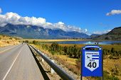 Patagonia, southern Argentina. The famous Route 40 paved road parallel to the Andes