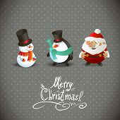 stock photo of merry chrismas  - Cute Christmas Characters - JPG