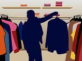 man suit silhouette in shop vector