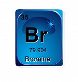 Bromine chemical element with atomic number, symbol and weight