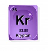 Krypton  chemical element with atomic number, symbol and weight