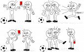 stock photo of referee  - Cartoon sketch referee and soccer players - JPG