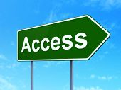 Privacy concept: Access on road sign background