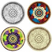 Set of ethnic design elements. Card design template. Can be used for invitation, menu, for pillow de