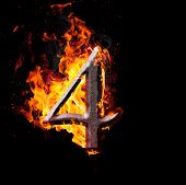 Numbers And Symbols On Fire - 4