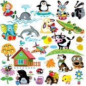 picture of bee cartoon  - big set for babies and little kid - JPG