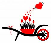 pic of hand-barrow  - vector wheel barrow and heart flowers in pot with heart watering can isolated on white background - JPG