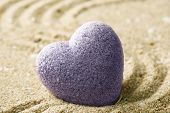 stock photo of pumice stone  - Grey zen stone in shape of heart - JPG