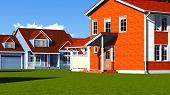 Nice Homes in Neighborhood on a blue sky day